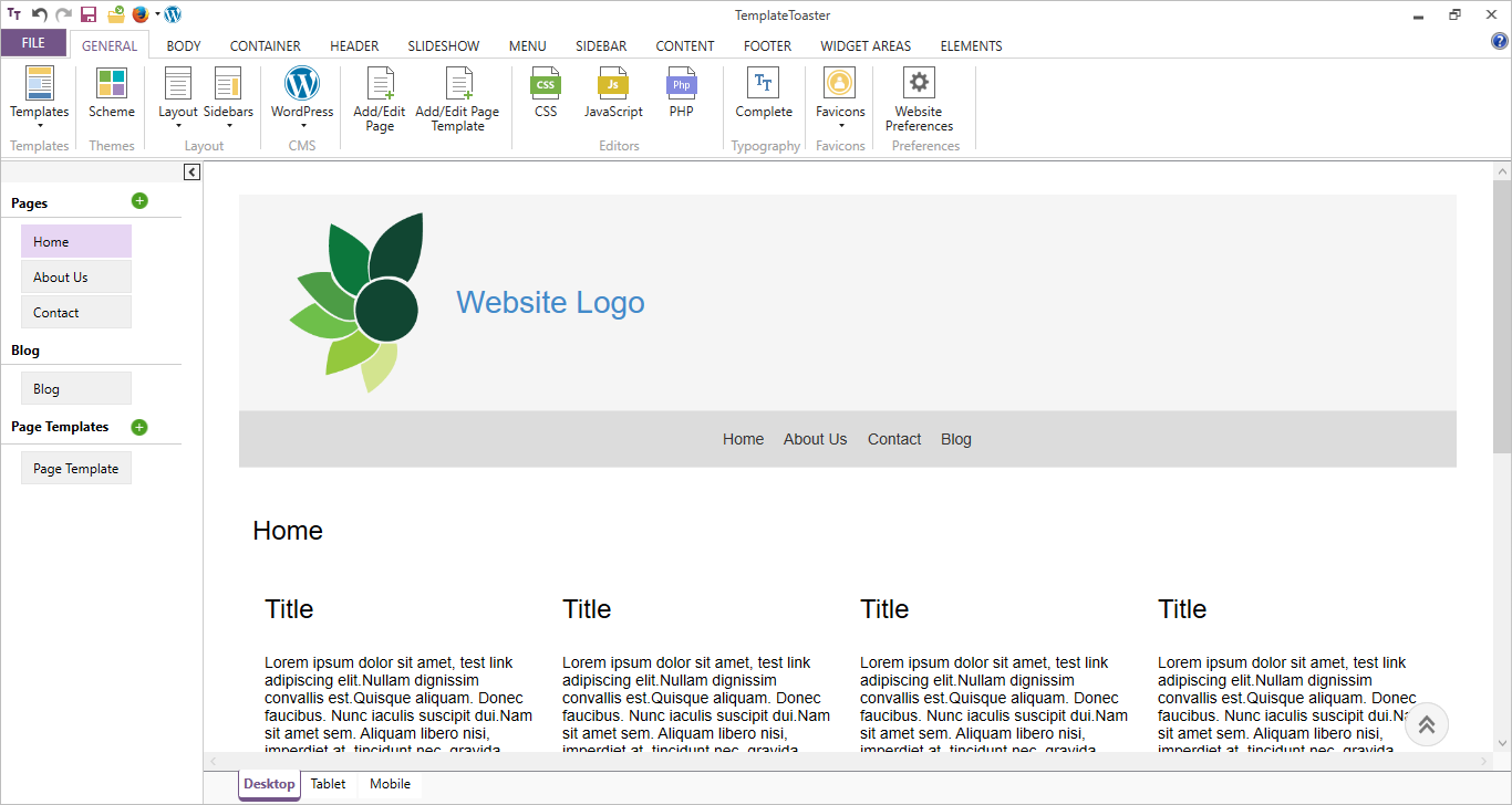 Main interface templatetoaster web design software for User interface design document template