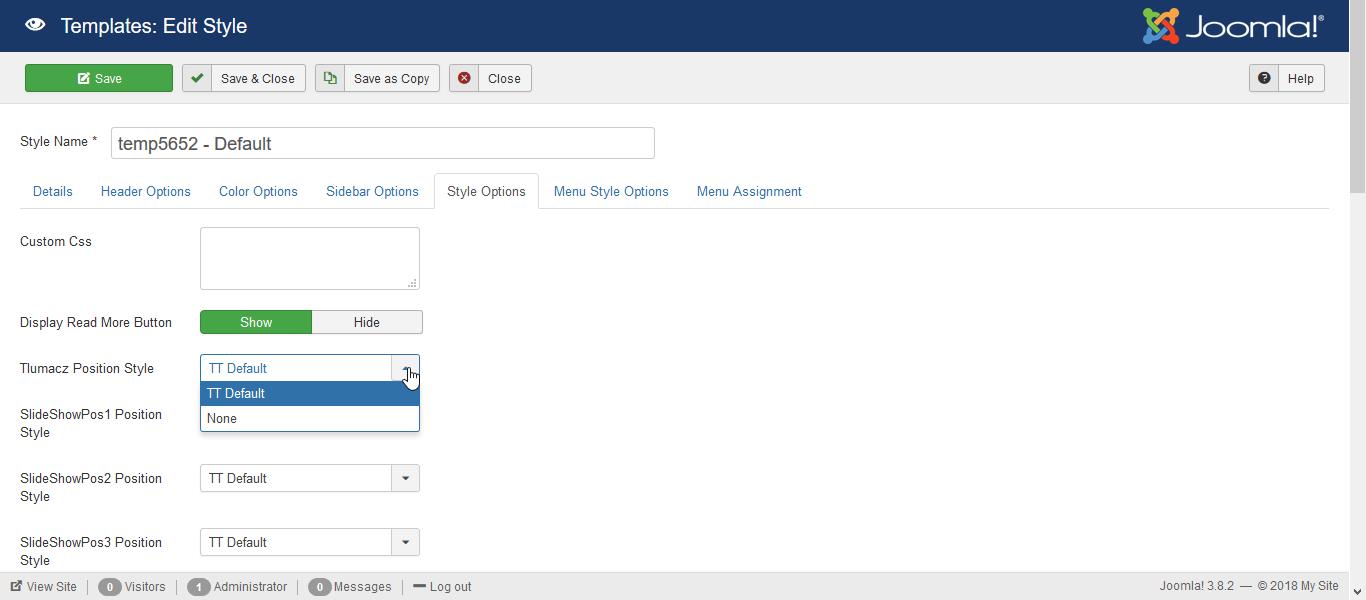 joomla menu style options templatetoaster