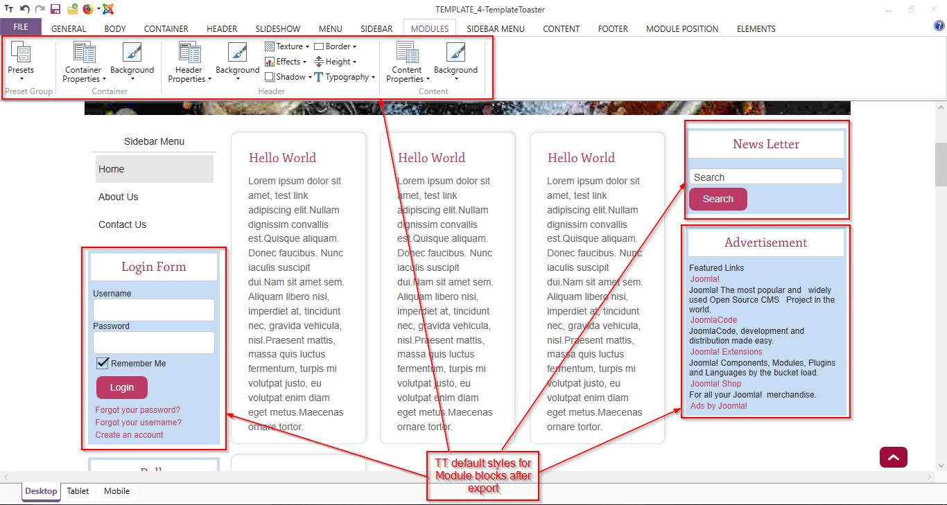 joomla menu style options templatetoaster default